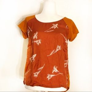 Lucky Brand Size M Orange Mixed Media Floral Top